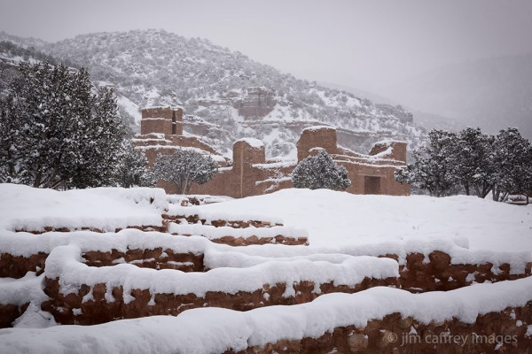 Jemez Historic Site covered in fresh snow