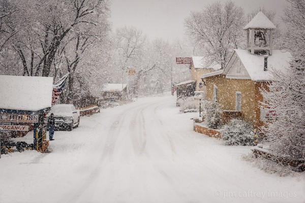 Jemez Springs, NM during a December snow storm